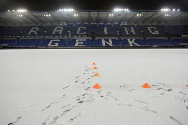 Weil im Stadion zu viel Schnee lag, wurde das Abschlusstraining in die Halle verlegt.