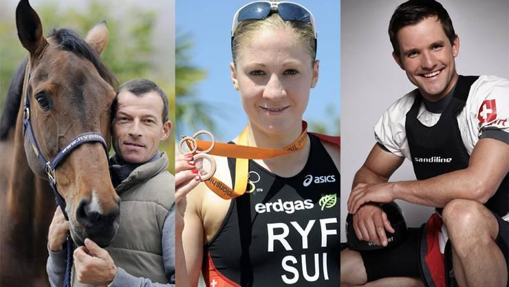 Diese drei Sportler vertreten den Kanton Solthurn an der Olympiade 2012 in London (v.l.): Pius Schweizer, Springreiten (Oensingen), Daniela Ryf, Triathlon (Feldbrunnen), Mike Kurt, Kanu (Solothurn).