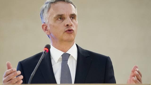 Didier Burkhalter spricht bei der Eröffnung der Session des UNO-Menschenrechtsrates in Genf