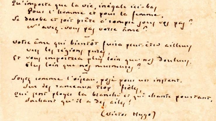 Gedicht von Giuseppe Mazzini für Françoise Girard.