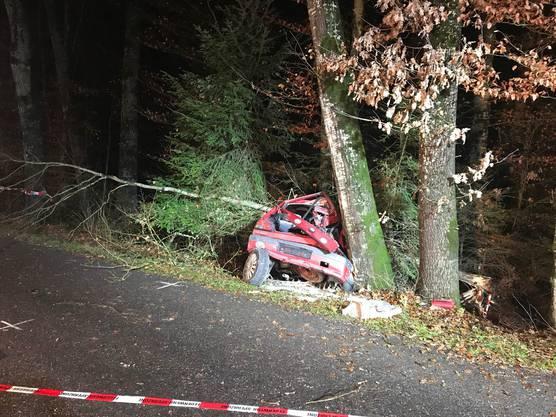 Ein junger Autofahrer prallt bei einem Selbstunfall mit seinem Wagen in Bäume und verstirbt noch auf der Unfallstelle.