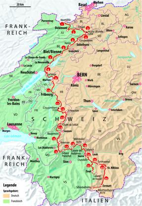 """Karte aus dem Wanderbuch """"Die Röstigrabenroute"""" (Rotpunktverlag) von Philipp Bachmann"""