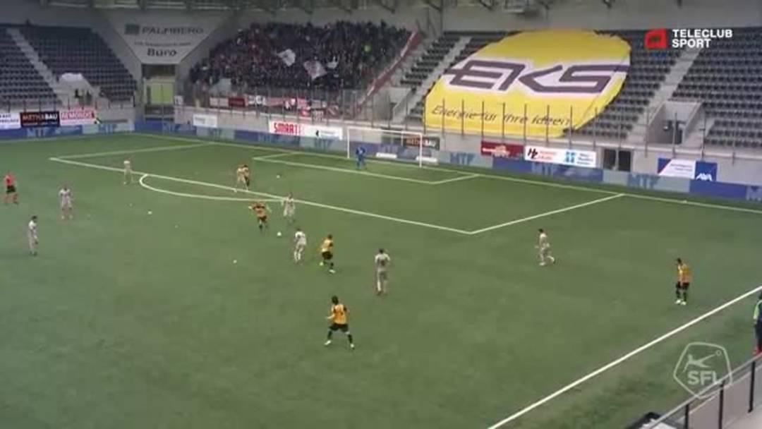 Challenge League 18/19 Runde 33: FC Schaffhausen - FC Aarau 11.5.19 - Pfostenschuss durch Miguel Castroman (2) (FC Schaffhausen)