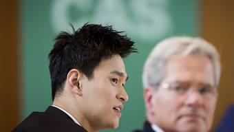 Sun Yang während der Anhörung in Montreux.