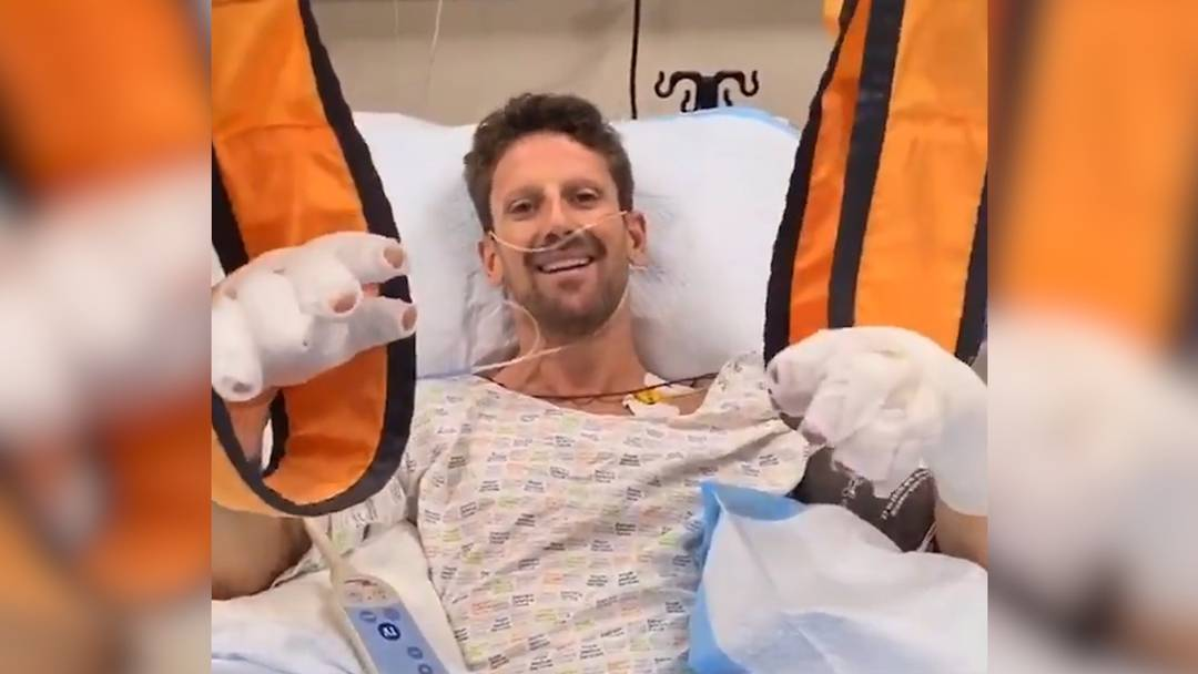 """""""Mir geht es gut!"""": Grosjean meldet sich nach Horror-Crash aus Spital"""