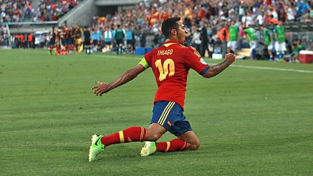 Man of the Match: Spaniens Dreifach-Torschütze Thiago Alcantara.