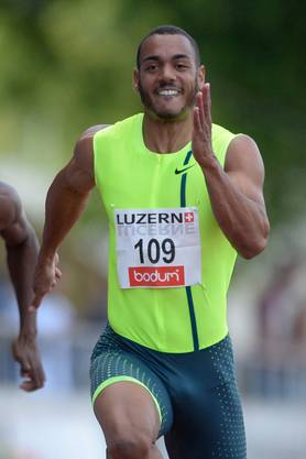 2014: Rolf Malcolm Fongué während des 100 m Rennens am Internationalen Meeting in Luzern