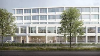 Die Visualisierung zeigt den Neubau der Hirslanden Klinik Aarau vom Viehmarkt her gesehen.