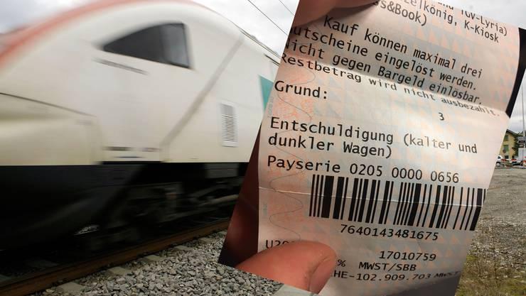 Die Zugführerin verteilte solche Gutscheine.