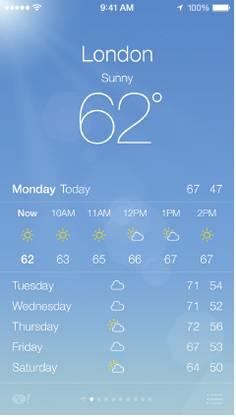 Neu bietet die vorinstallierte Wetter-App acuh Animationen - wie es Android-Geräte schon seit Jahren tun.