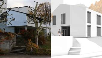 Der bestehende Kindergarten (links) in Zeihen soll abgebrochen werden. An der Info-Veranstaltung wurde das Neubau-Projekt präsentiert.