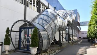 Die Stadt kann die Giroud Olma Hallen (im Bild der Zugang) als Untermieterin weiterhin nutzen. Bruno Kissling
