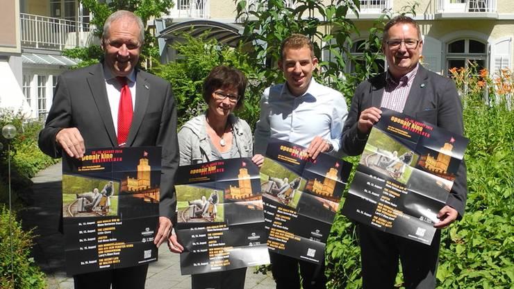 Stephan Koller, Christine Sebald, Claudio Mahrer und Daniel Schaffhauser (von links) stellen das Programm für das Open-Air-Kino Rheinfelden 2014 vor