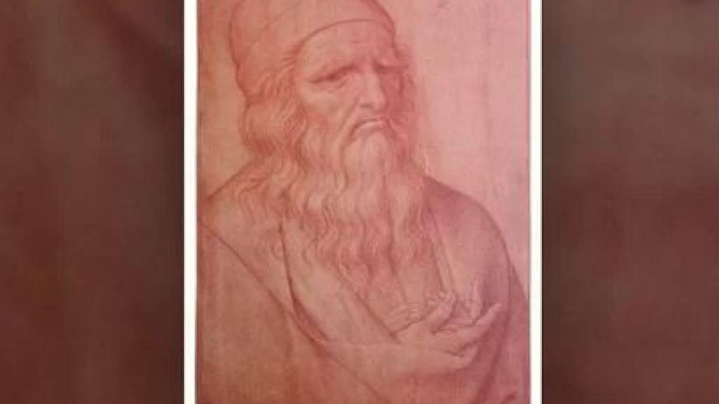 Die Kreidezeichnung des lombardischen Künstlers Giovan Ambrogio Figino zeigt Leonardo da Vinci in höherem Alter.
