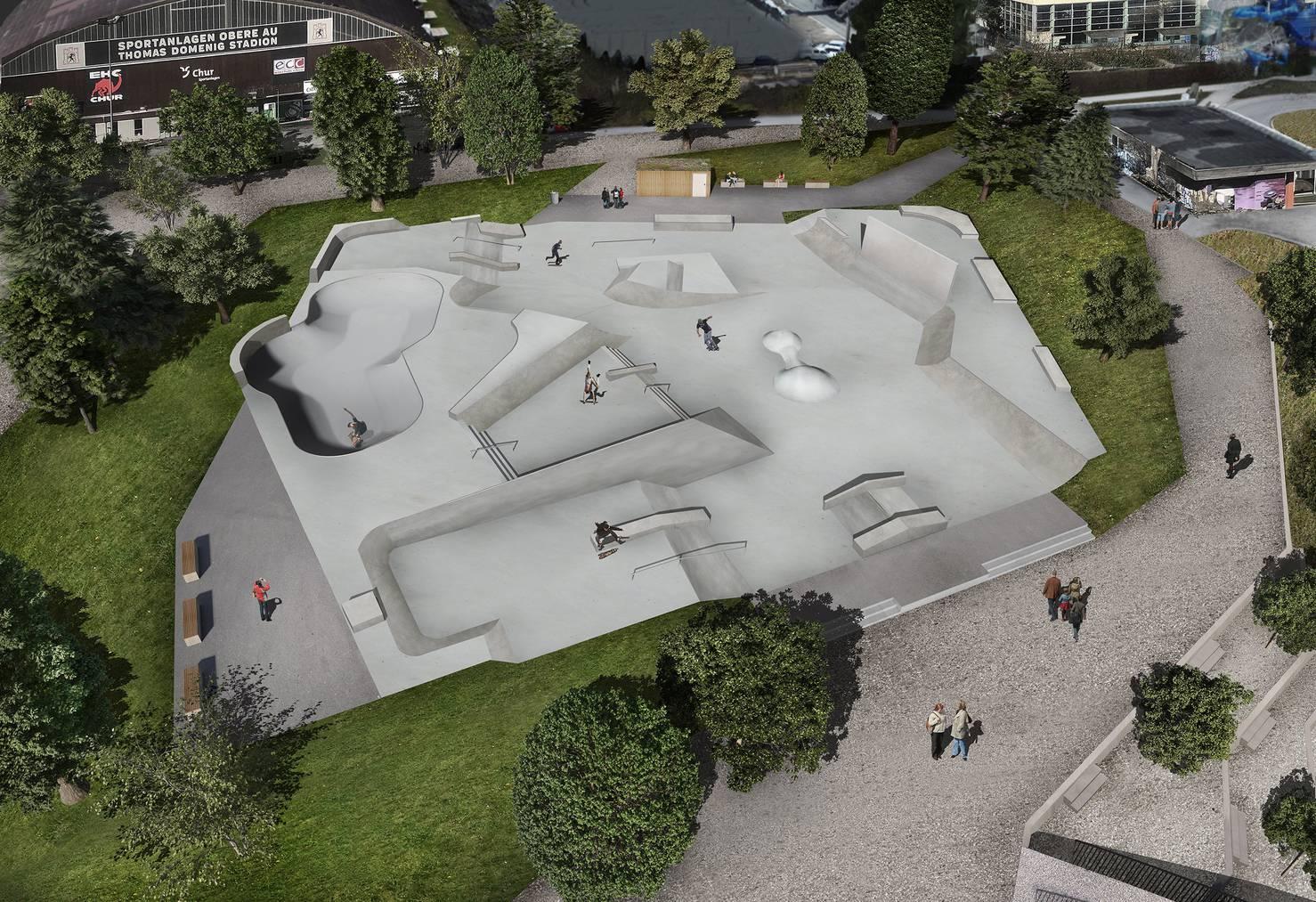 Dieses Wochenende kann man den neuen Skatepark selber ausprobieren. (Visualisierung: Stadt Chur)