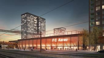 Aarauer Stadionprojekt mit Hochhäusern (Plan B)