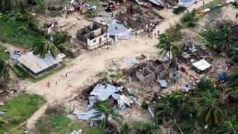 """Der Zyklon """"Kenneth"""" hat auf der Insel Ibo in Mosambik viele Häuser zerstört."""