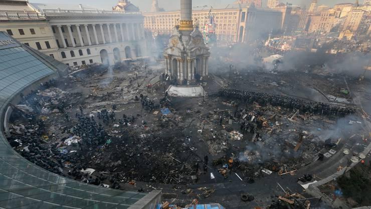 Der Unabhängigkeitsplatz inmitten von Kiew.