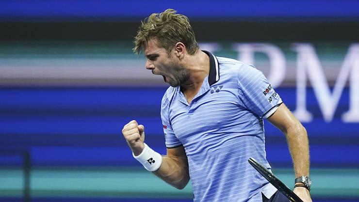 Wawrinka on Fire: Der Schweizer führte im US-Open-Achtelfinal gegen den Titelverteidiger Novak Djokovic mit 2:0 Sätzen, ehe dieser aufgab