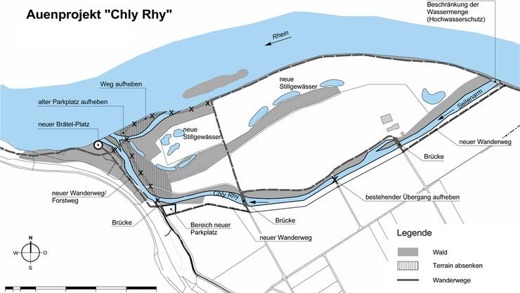 Mit dem Projekt soll der letzte freifliessende Teil des Rheins zwischen Bodensee und Basel renaturiert werden.ho