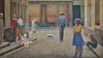 Warum hat Balthus die Leute so steif gemalt? Eine der Fragen des Publikums vor «Passage du Commerce-Saint-André» von 1952–1954.