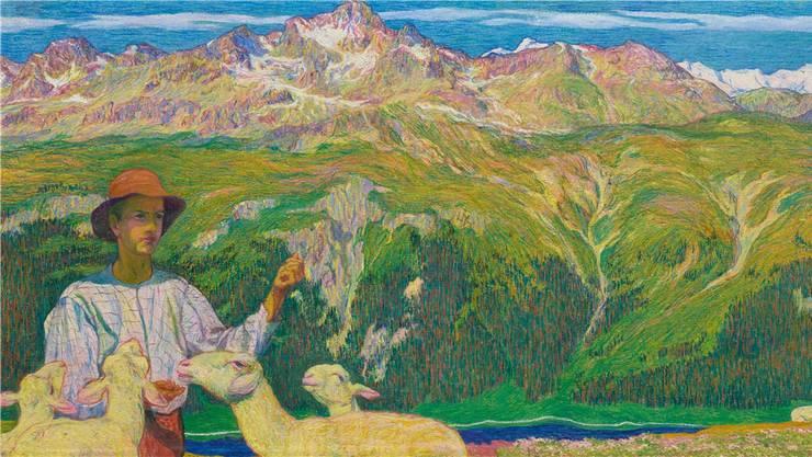 Giovanni Giacometti: «Panorama von Muottas Muragl», 1898. 67×510 cm. Der Ausschnitt zeigt die pointillistische Malweise. Das ganze Panorama finden Sie weiter unten im Artikel.