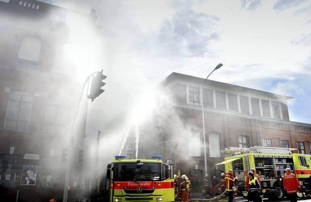 Die Feuerwehr bei der Roten Fabrik im Einsatz