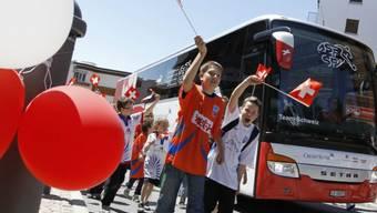Die Schweizer Fussballnationalmannschaft in Crans Montana
