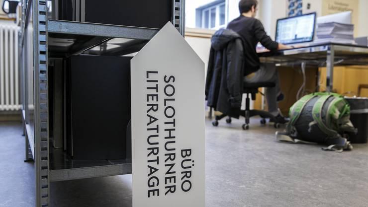 Das Büro der Literaturtage am Dornacherplatz in Solothurn wird zum Zentrum der ersten Online-Literaturtage.