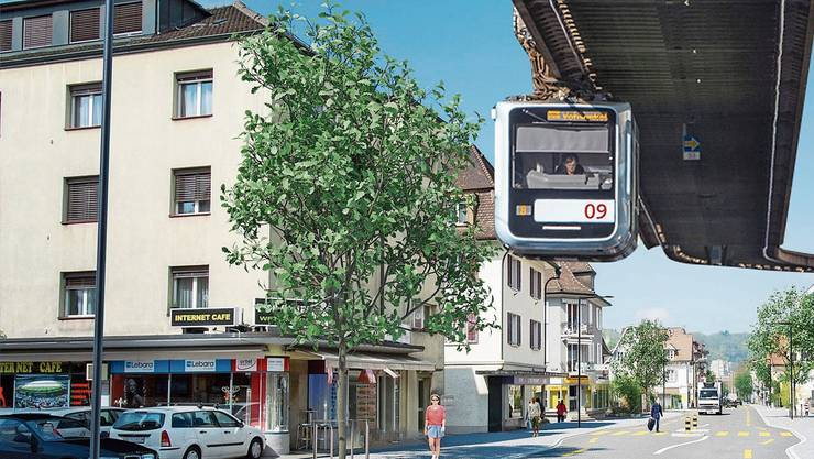 Ein Hauch von Wuppertal in Wettingen: Eine Hochbahn könnte über der Landstrasse verkehren, wie hier in der Visualisierung.