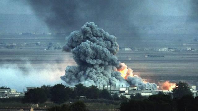 Explosion nach Luftangriff nahe der syrischen Kurdenstadt Kobane