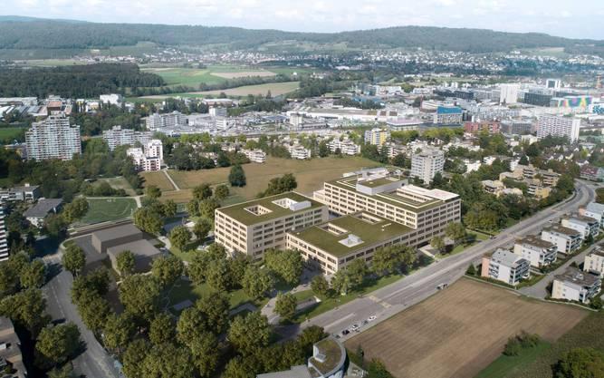 Das Bild zeigt eine Gesamtansicht von oben. Das Pflegezentrum befindet sich hinten links.
