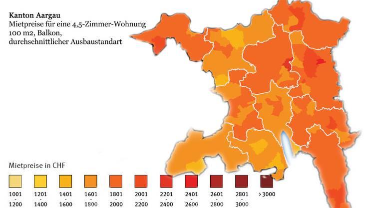 Mietpreise für eine 4,5-Zimmer-Wohnung im Aargau
