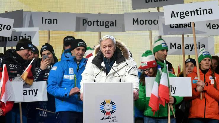 Gian Franco Kasper an der Eröffnung der Ski-WM: Gerne hätte er auch die Olympischen Winterspiele nach St. Moritz geholt.