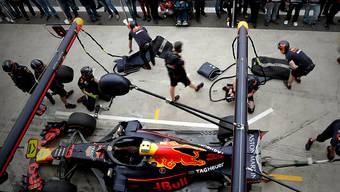 Der Red Bull von Max Verstappen wird in São Paulo aufs erste Training vorbereitet