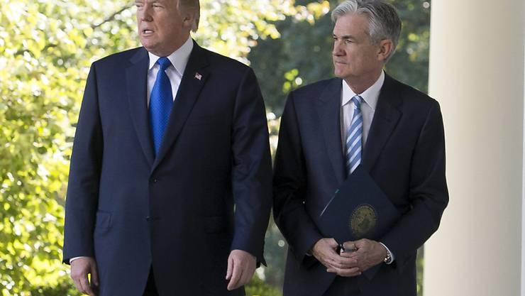 """US-Präsident Trump pries Powell bei einem gemeinsamen Auftritt im Rosengarten des Weissen Hauses als """"starke"""" und """"schlaue"""" Führungspersönlichkeit."""