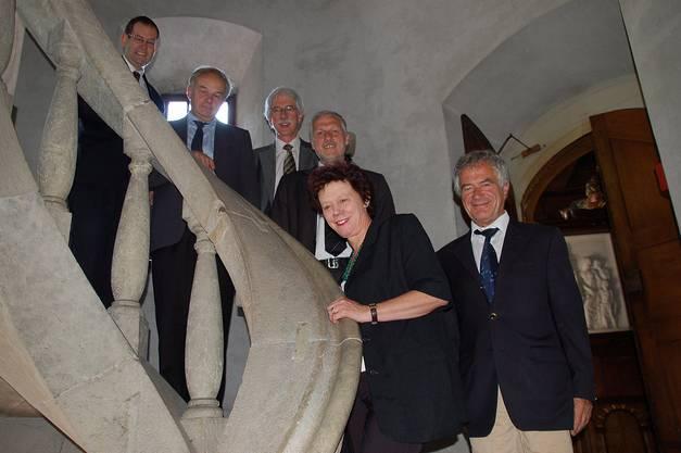 v.l. Staatsschreiber Andreas Eng, Christian Wanner, Klaus Fischer, Peter Gomm, Esther Gassler und Walter Straumann