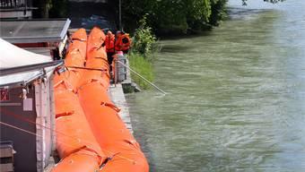 Vorsorglich angebracht: Hochwassersperren beim Aarebistro.