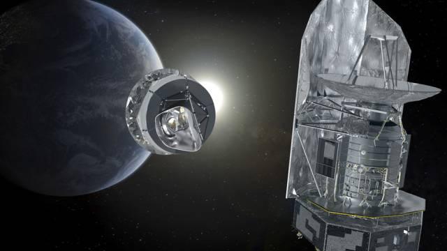 """Das Weltraumteleskop """"Planck"""" (links) auf einer Abbildung der ESA"""