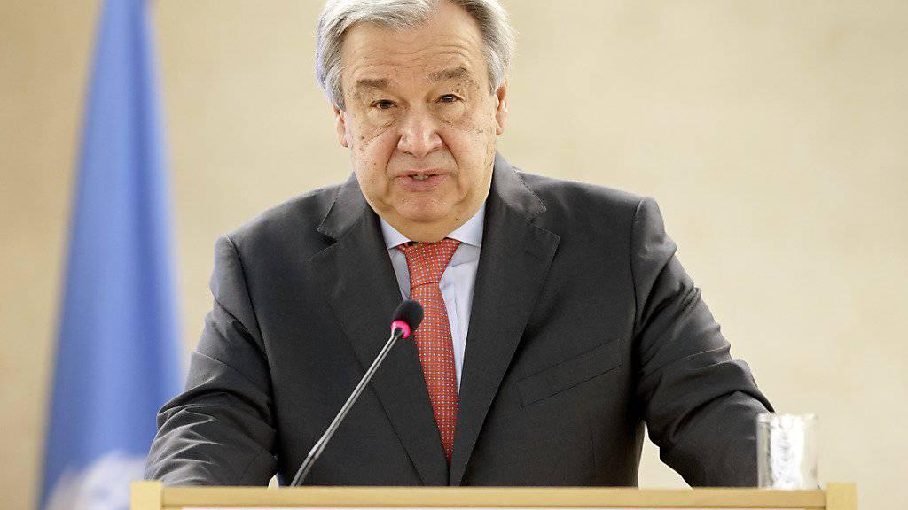 UNO-Generalsekretär Guterres spricht vor dem Menschenrechtsrat in Genf.