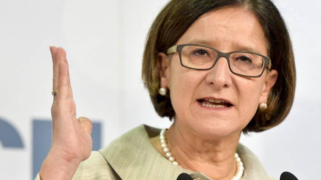 Innenministerin Johanna Mikl-Leitner am Freitag an einer Medienkonferenz zur Grenzsicherung im Innenministerium in Wien.
