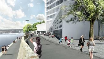 So wird der Rheinuferweg von Basel St. Johann nach Huningue Ende 2015 beim Novartis-Campus aussehen.