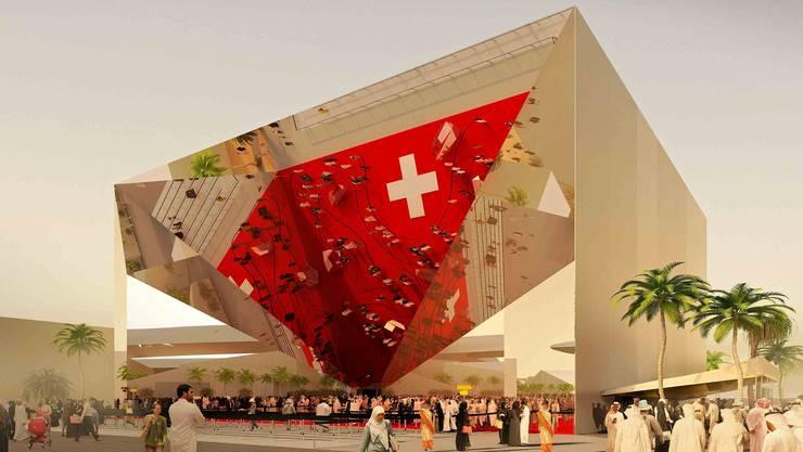 Schweizer Pavillon an der Weltausstellung in Dubai: Herzstück ist eine auf der Spitze stehende, mit Spiegeln verkleidete Pyramide.