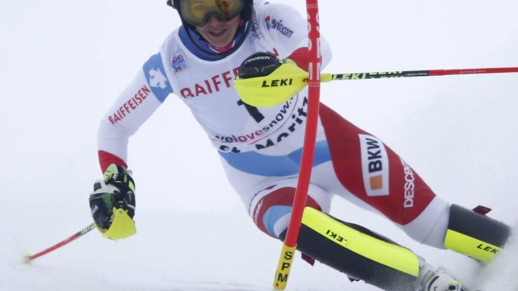 Wendy Holdener in St. Moritz auf gutem Kurs in Richtung Podest