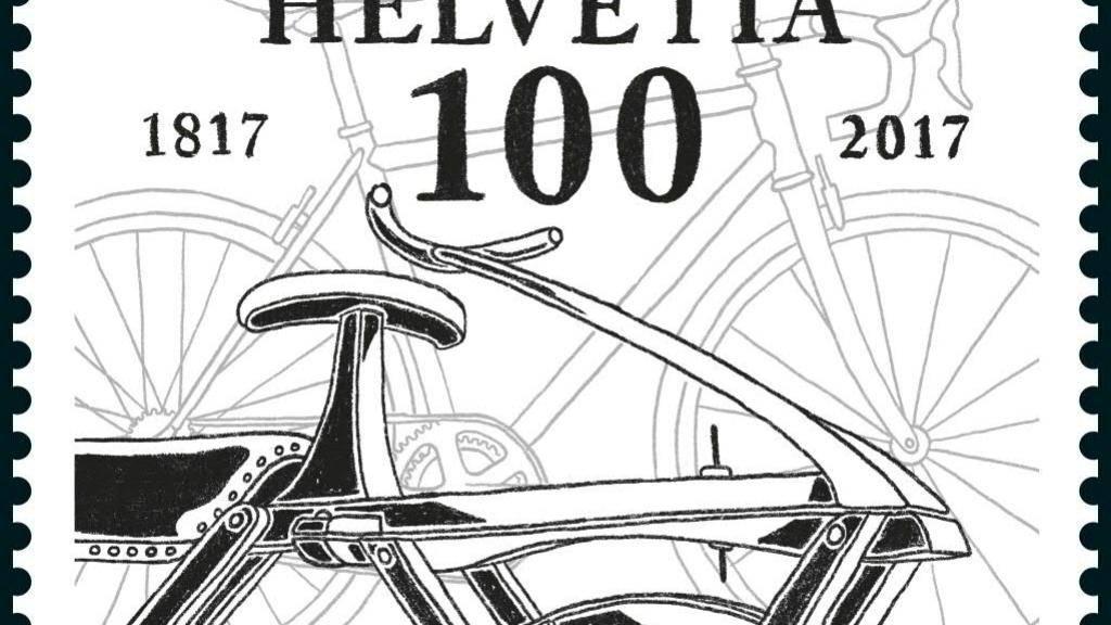 Die Briefmarken der Post gehen in ein neues Zeitalter über: Durch Einscannen mit dem Handy können Informationen zum Sujet aufgerufen werden. Neu im Sortiment hat die Post dieses Jahr auch die Sonderbriefmarke «200 Jahre Velo» mit der Draisine, dem Ur-Rad, im Vordergrund.