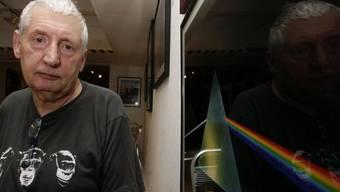 """Storm Thorgerson neben seinem Album-Cover von """"The Dark Side of the Moon"""" (Archivbild)"""