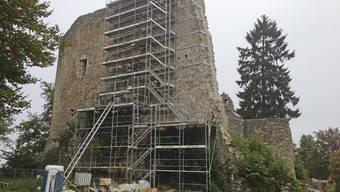Die Schildmauer der Farnsburg mit dem Baugerüst und den stabilisierenden Metallklammern (rechts).