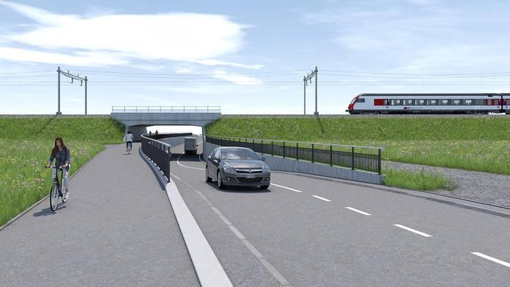 Visualisierung der geplanten neuen SBB-Unterführung an der Nutzenbachstrasse, links die geplante neue Rad- und Gehwegverbindung zwischen Anglikon und Villmergen. (Visualisierung)
