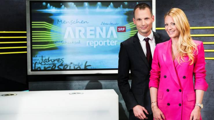 """Die beiden stehen künftig am Sonntagabend gemeinsam vor der TV-Kamera: Jonas Projer und Christa Rigozzi moderieren """"Arena/Reporter""""."""