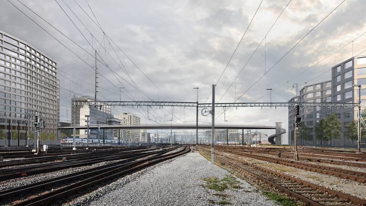 Der Negrellisteg wird nächstes Jahr als Fussgängerbrücke über die Gleise bei der Europaallee gebaut.